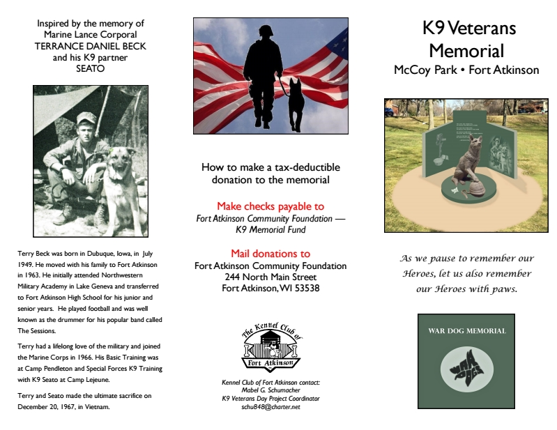 K9 Memorial Brochure - Outside